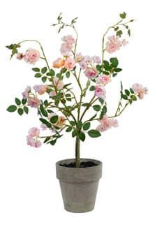 Strauch künstlicher Wildrosen im Topf zart-rosa 60cm