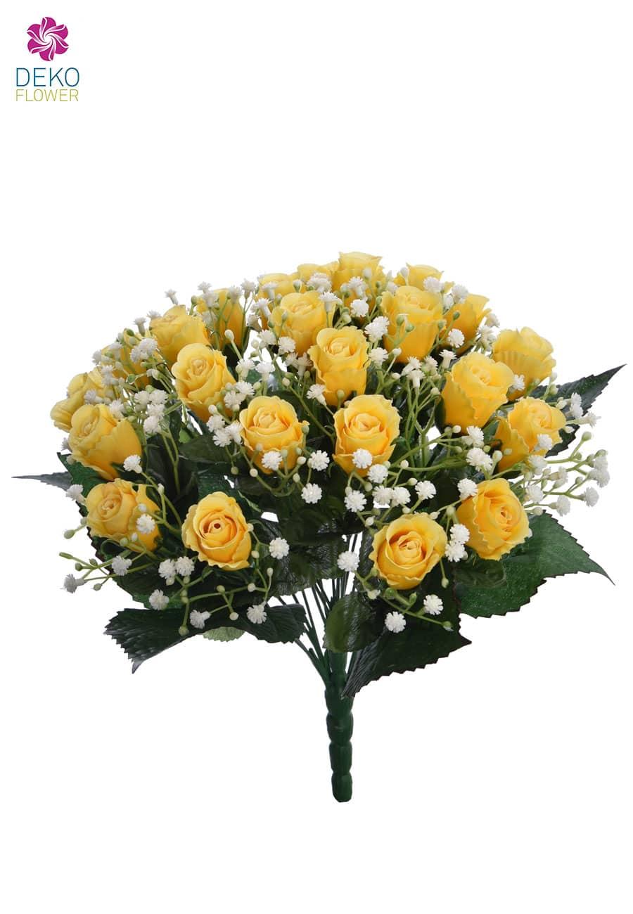 Künstlicher Rosenstrauß gelb 36 cm