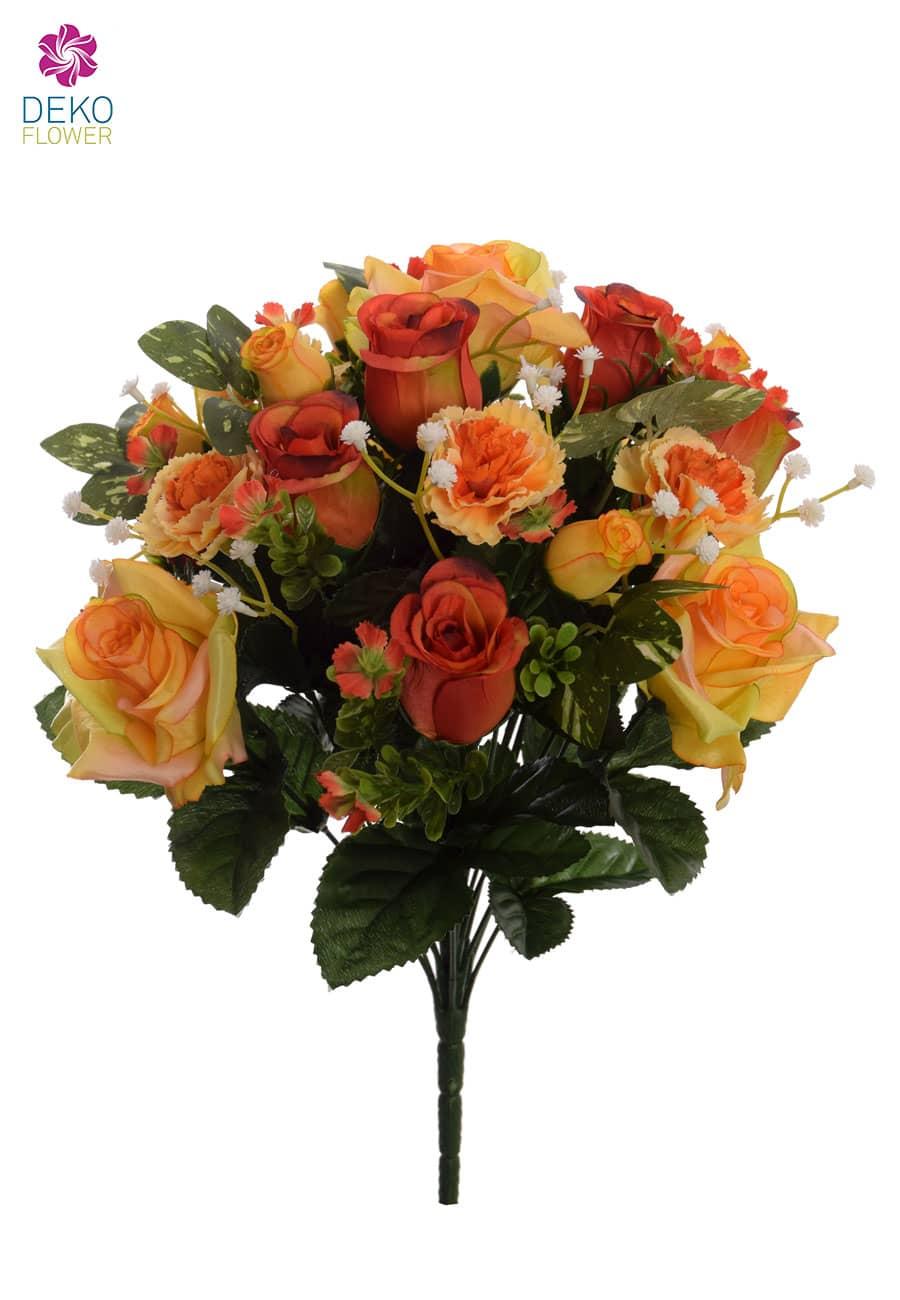 Künstlicher Rosenstrauß gelb orange 44 cm