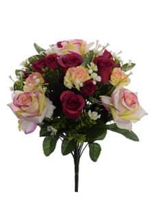Künstlicher Rosenstrauß gelb pink 44 cm