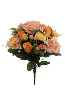 Künstlicher Rosenstrauß lachsgelb 44 cm