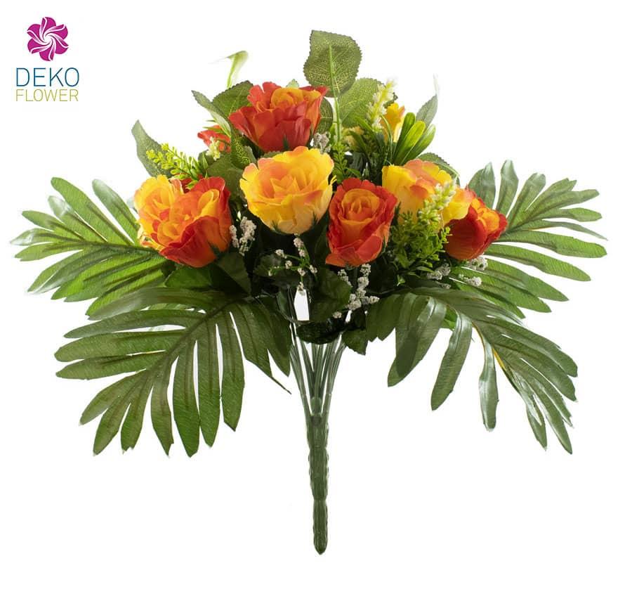 Künstlicher Rosenstrauß orange gelb 38 cm