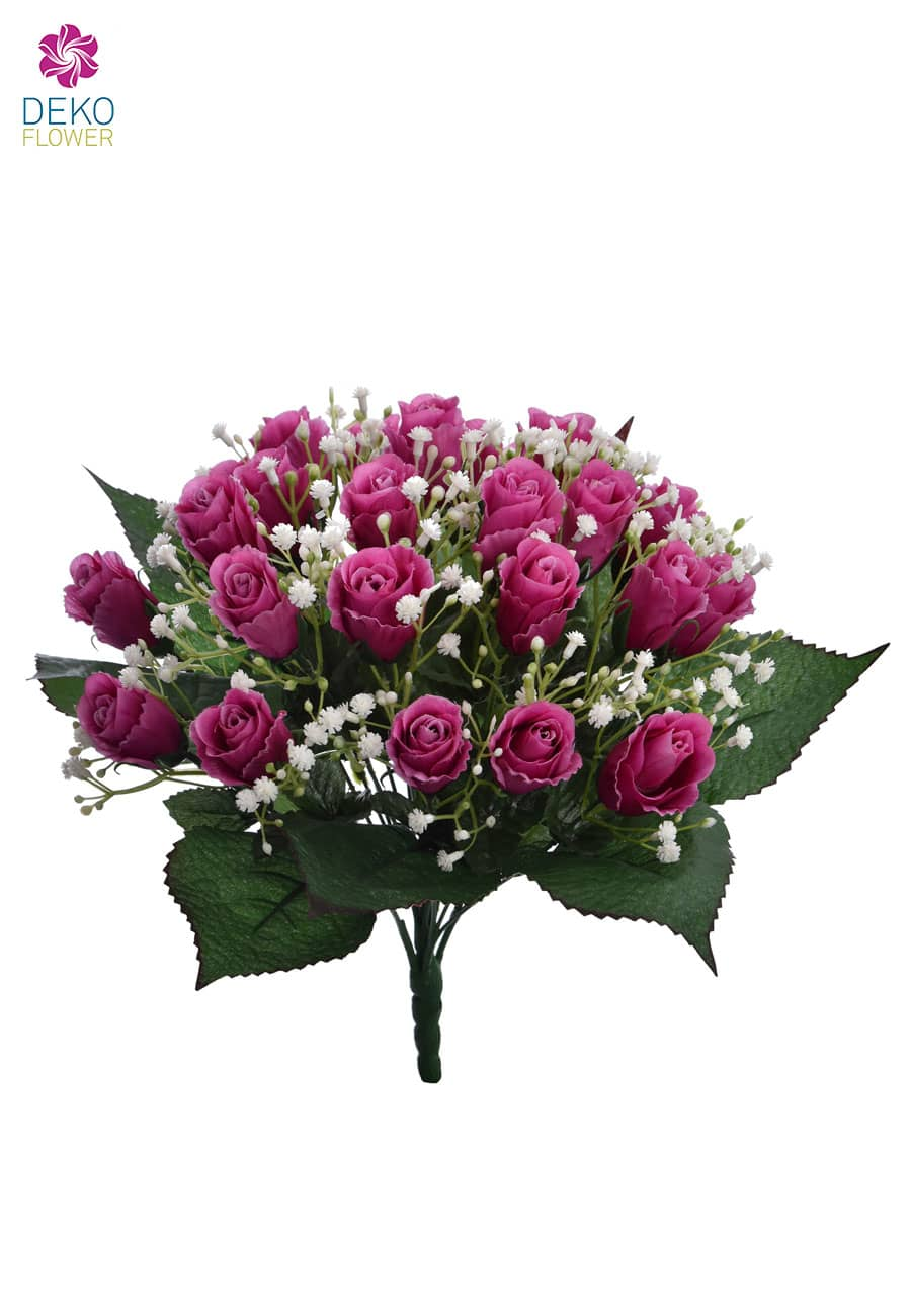 Künstlicher Rosenstrauß pink 36 cm