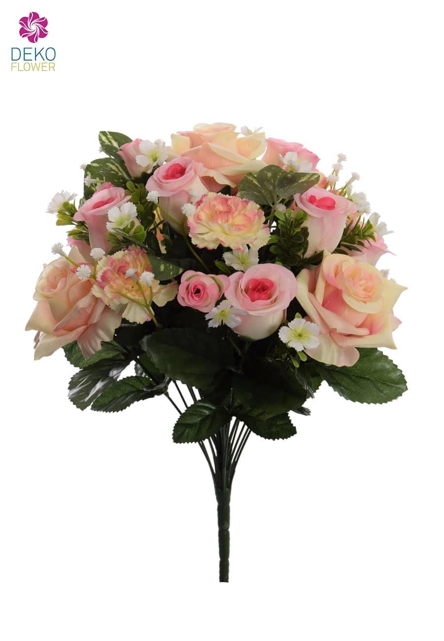 Künstlicher Rosenstrauß rosa 44 cm