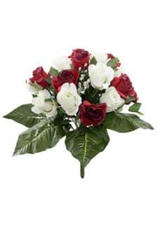 Künstlicher Rosenstrauß rotweiß 43 cm