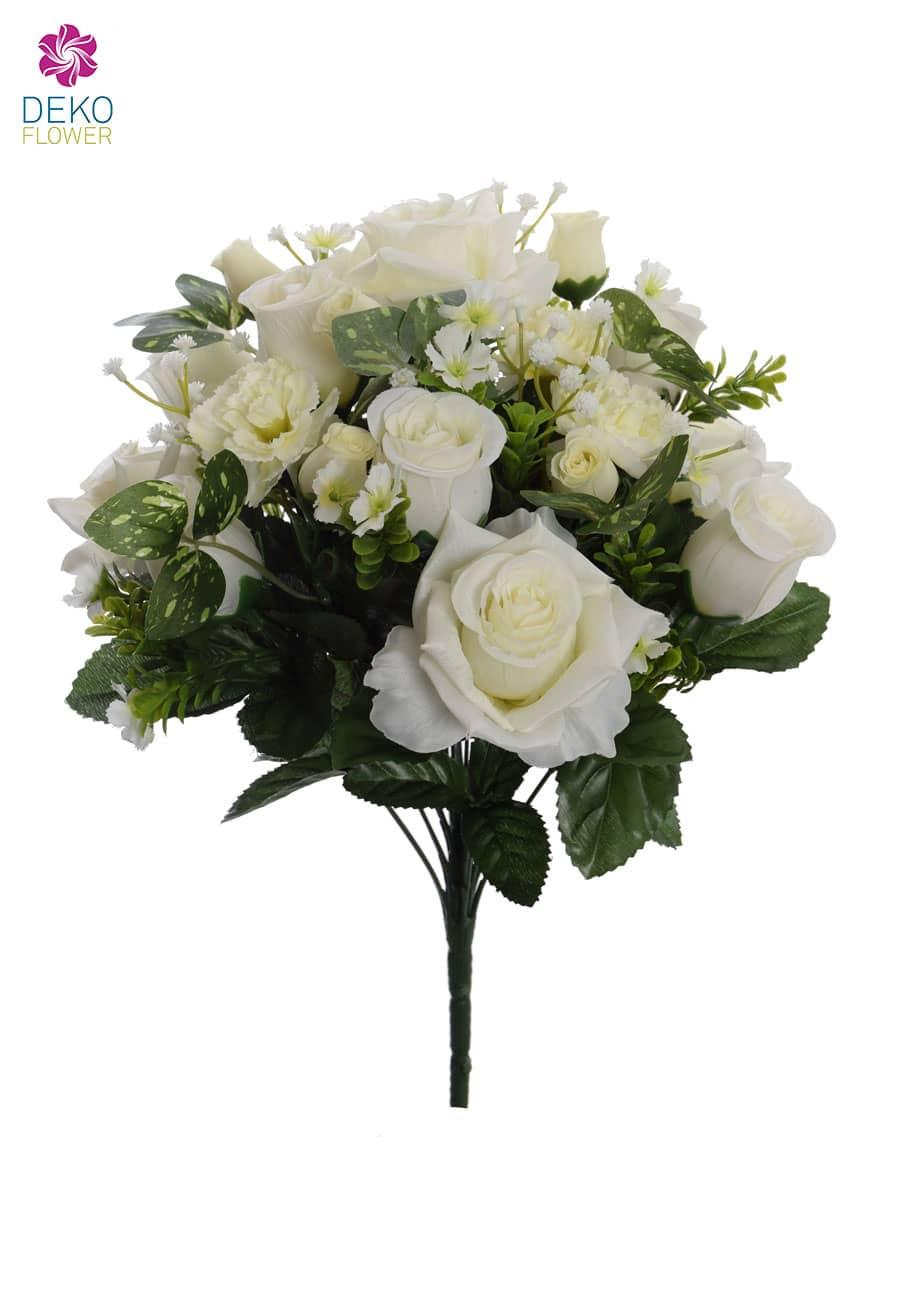 Künstlicher Rosenstrauß weiß 44 cm