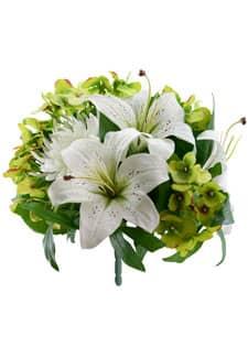 Kunstblumenstrauß Lilien Hortensien Chrysanthemen weiß 30 cm