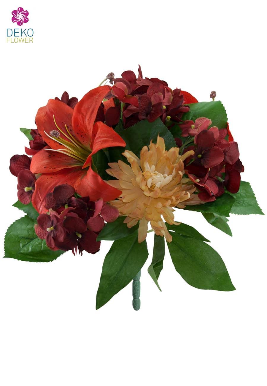 Kunstblumenstrauß Lilien Hortensien Chrysanthemen korallenrot 30 cm