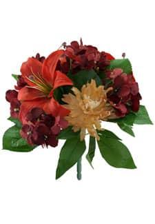 Kunstblumenstrauß Lilien, Hortensien, Chrysanthemen korall