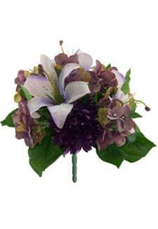 Kunstblumenstrauß Lilien Hortensien Chrysanthemen lila 30 cm