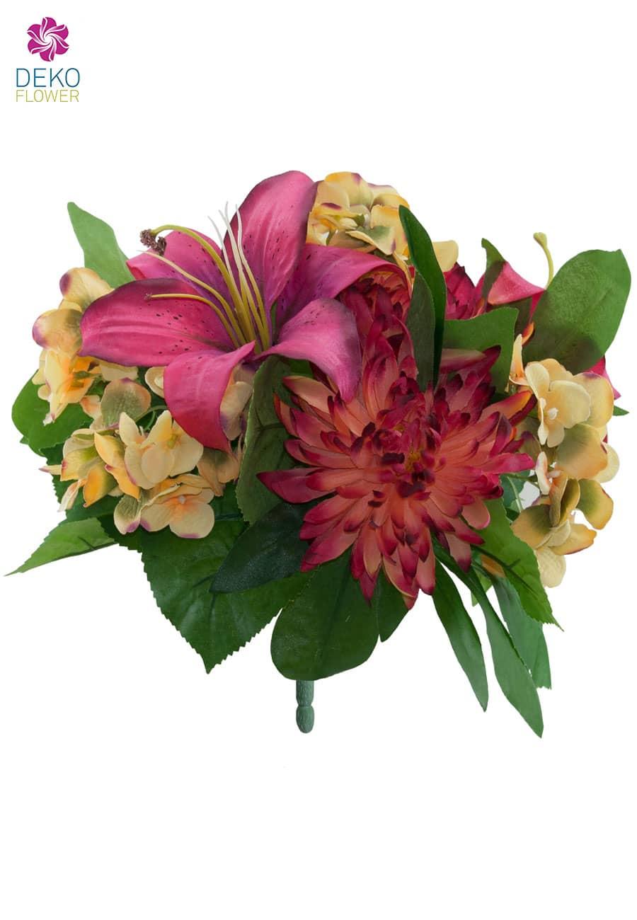Kunststrauß aus Lilien, Hortensien und Chrysanthemen pink 30 cm