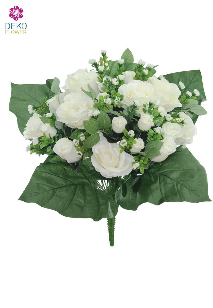 Künstlicher Blumenstrauß mit Rosen in creme-weiß 40cm