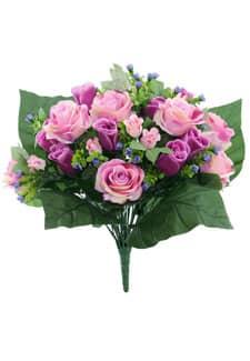 Künstlicher Blumenstrauß mit Rosen in lavendel 40cm