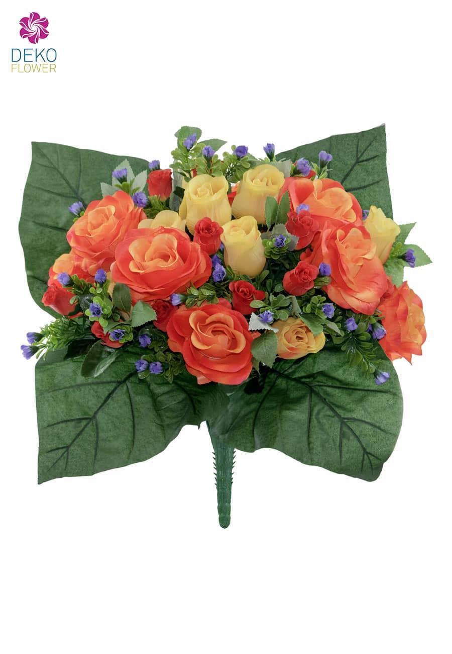 Künstlicher Blumenstrauß mit Rosen in orange gelb 40 cm