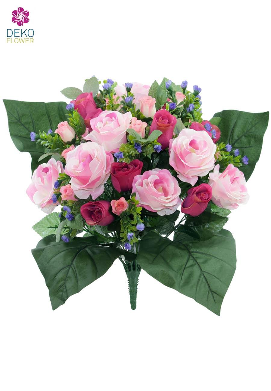 k nstlicher blumenstrau mit rosen in pink 40cm. Black Bedroom Furniture Sets. Home Design Ideas