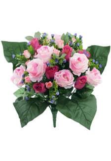Künstlicher Blumenstrauß mit Rosen in pink 40cm