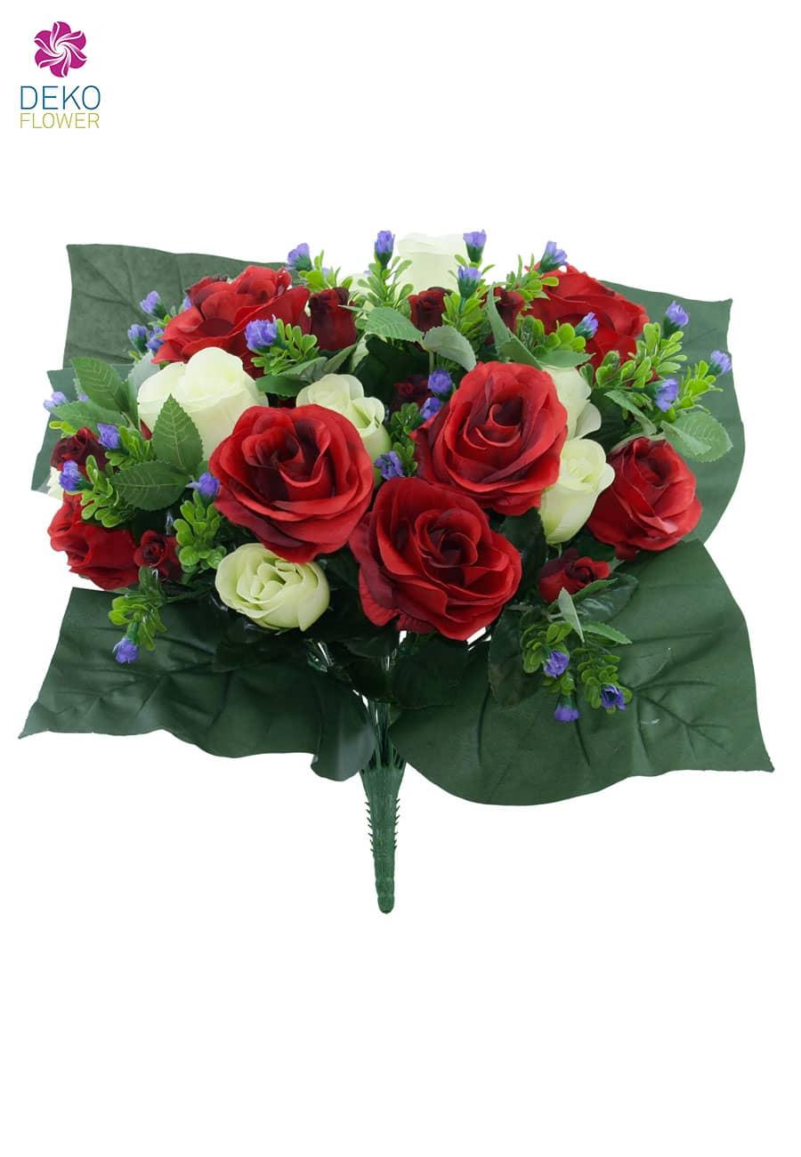 Künstlicher Blumenstrauß mit Rosen in rot-weiß 40cm