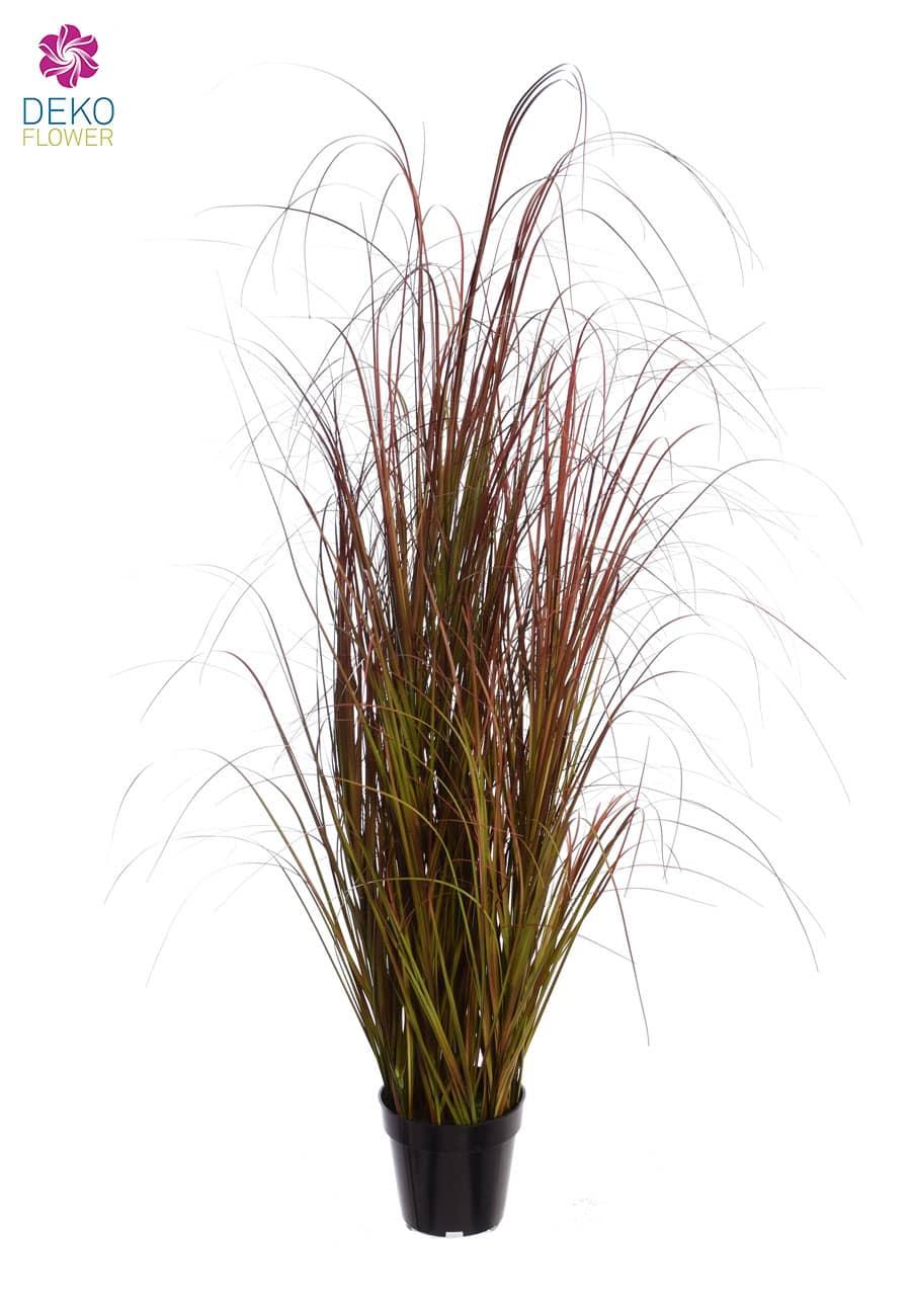 Künstliches Blut Gras im Topf 125 cm rot