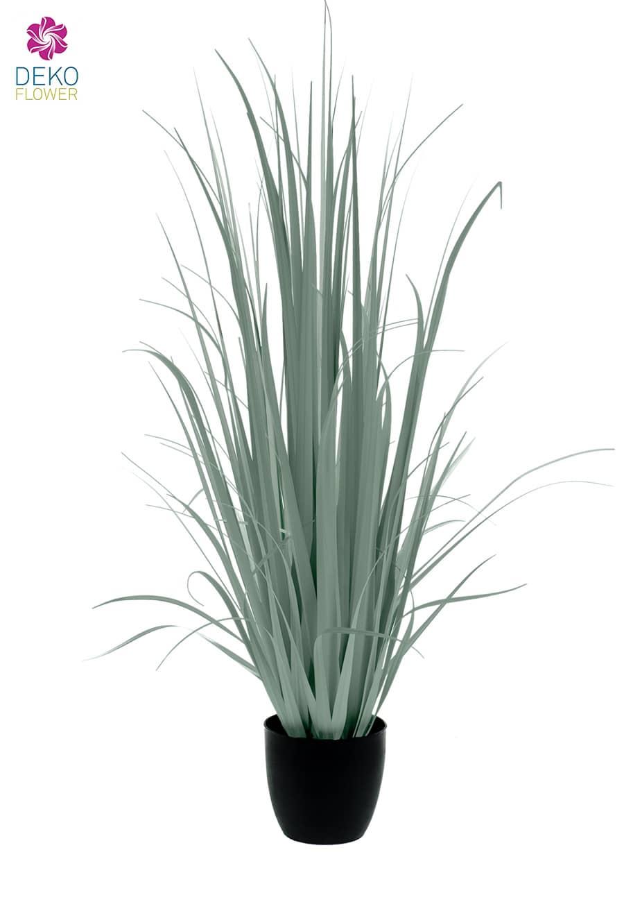 Künstliches Yucca Gras 180 cm getopft grau grün