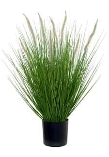 Künstliches Gras mit Federborsten getopft 65 cm grün