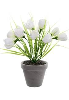 Künstliche Krokus Topfpflanze weiß 29 cm