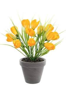 Krokus Kunstpflanze im Topf sonnengelb 29 cm