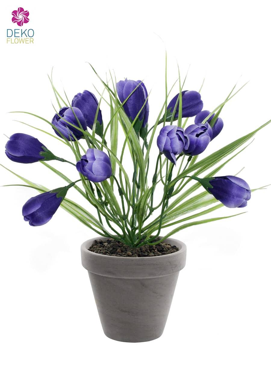 krokus kunstpflanze im topf schieferblau 29 cm. Black Bedroom Furniture Sets. Home Design Ideas