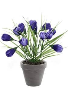 Krokus Kunstpflanze im Topf schieferblau 29 cm
