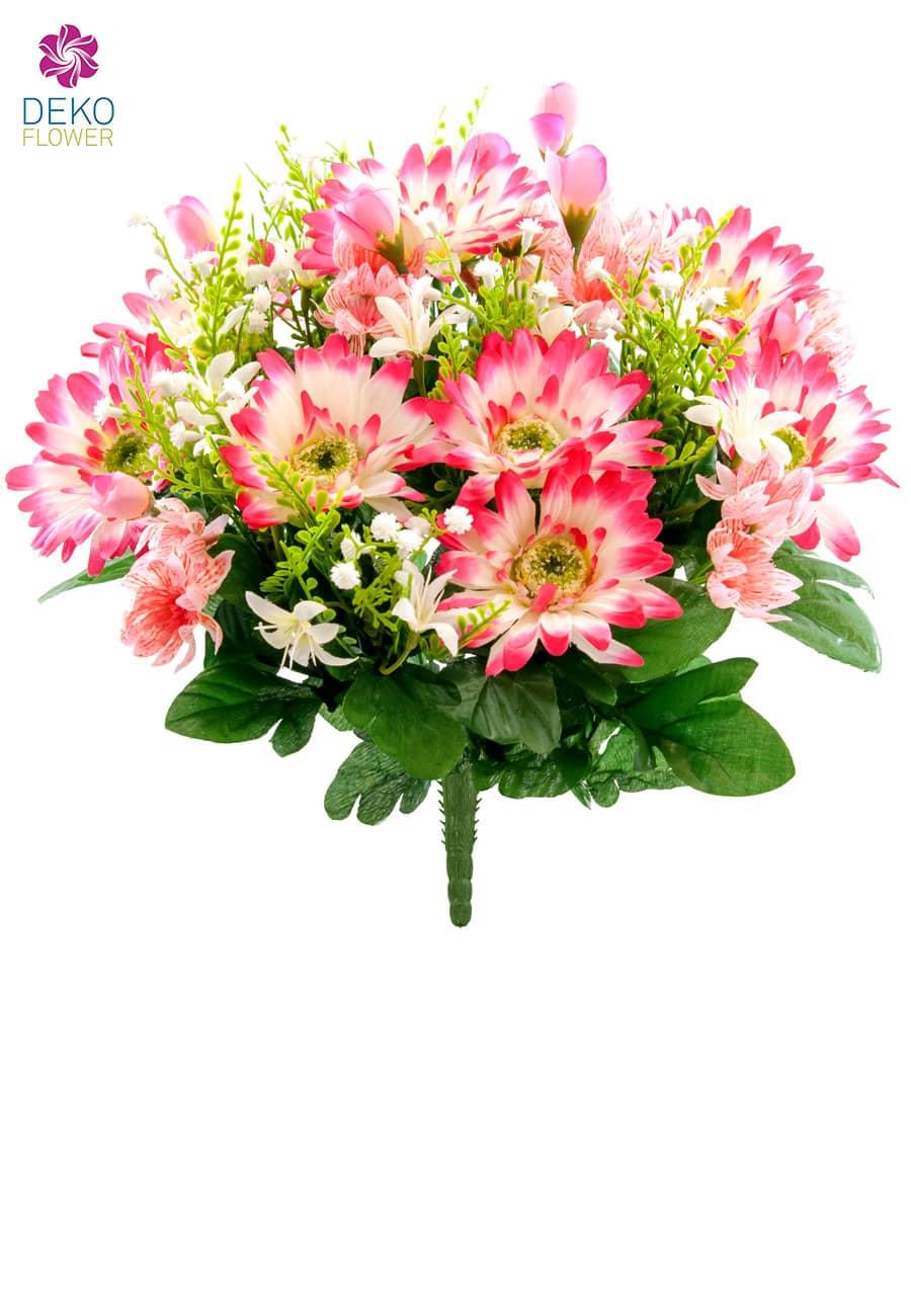 Kunstblumenstrauß weiß pink 41 cm