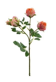 Kunstblumen Rosen lachsgelb 38 cm 3er Pack