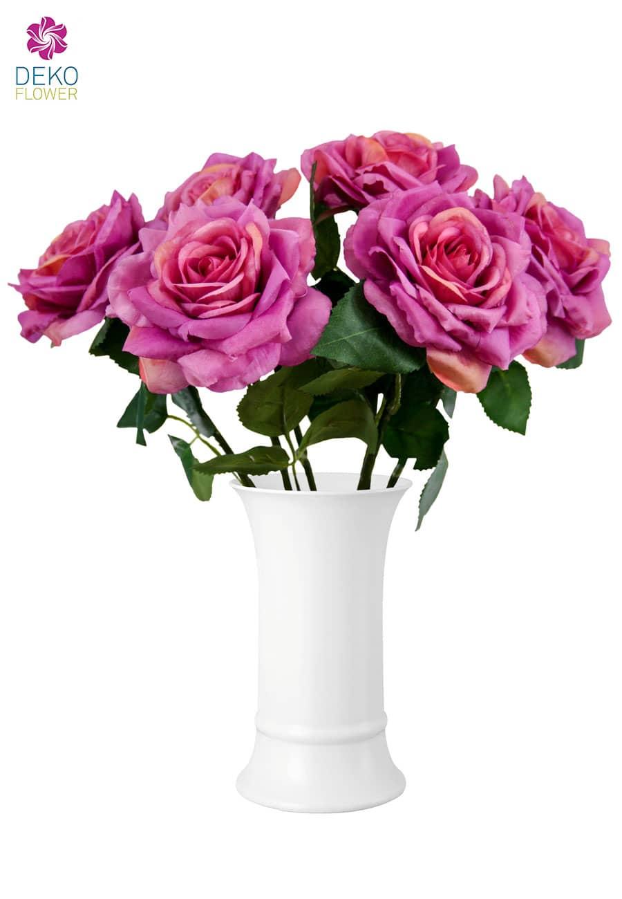 Künstliche Rosen pink 30 cm 6er Pack