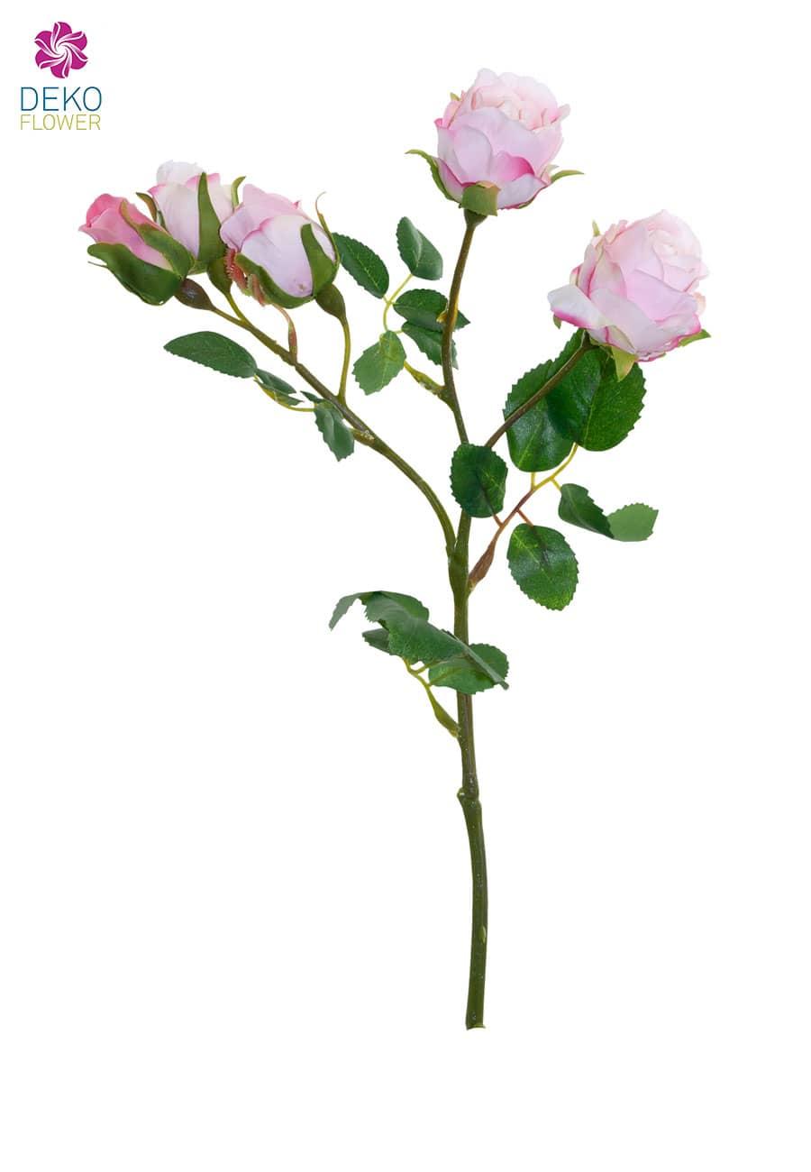 Künstliche Rosen weiß-rosa 38cm, 3er-Pack