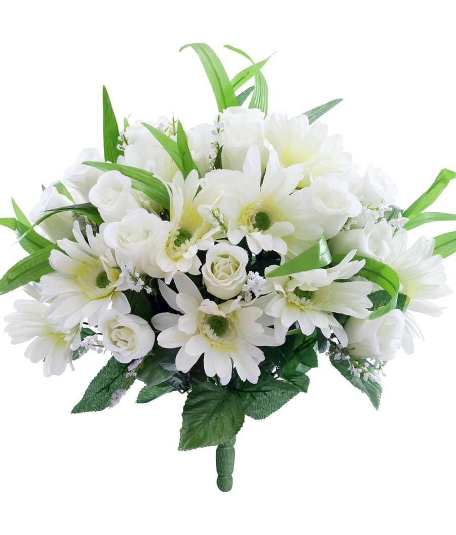 Kunstblumenstrauß mit Gerbera und Rosenknospen 46 cm in creme weiß