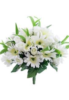 Kunstblumenstrauß weiß mit Gerbera und Rosen 46 cm