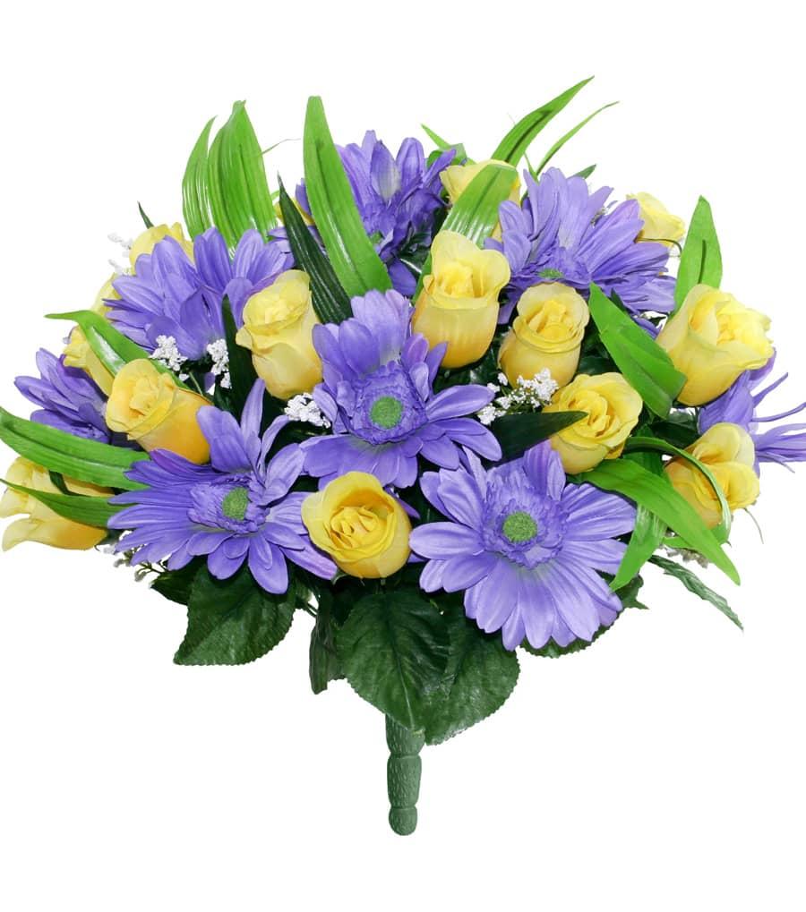 Kunstblumenstrauß mit Gerbera und Rosenknospen 46 cm gelb blau