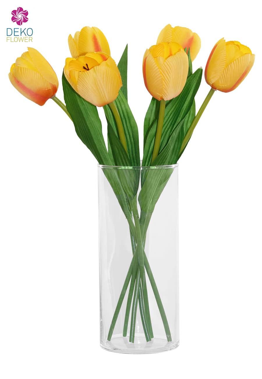 Kunstblumen Tulpen 40 cm gelb 6er-Pack