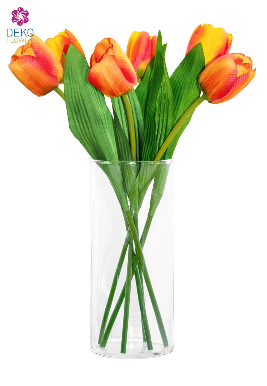 Kunstblumen Tulpen 40 cm orange 6er-Pack
