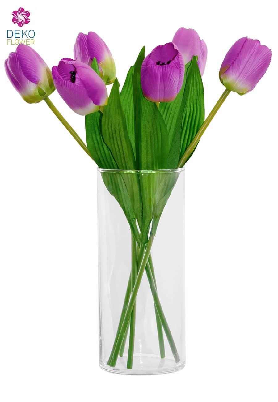 Kunstblumen Tulpen 40 cm violett 6er-Pack