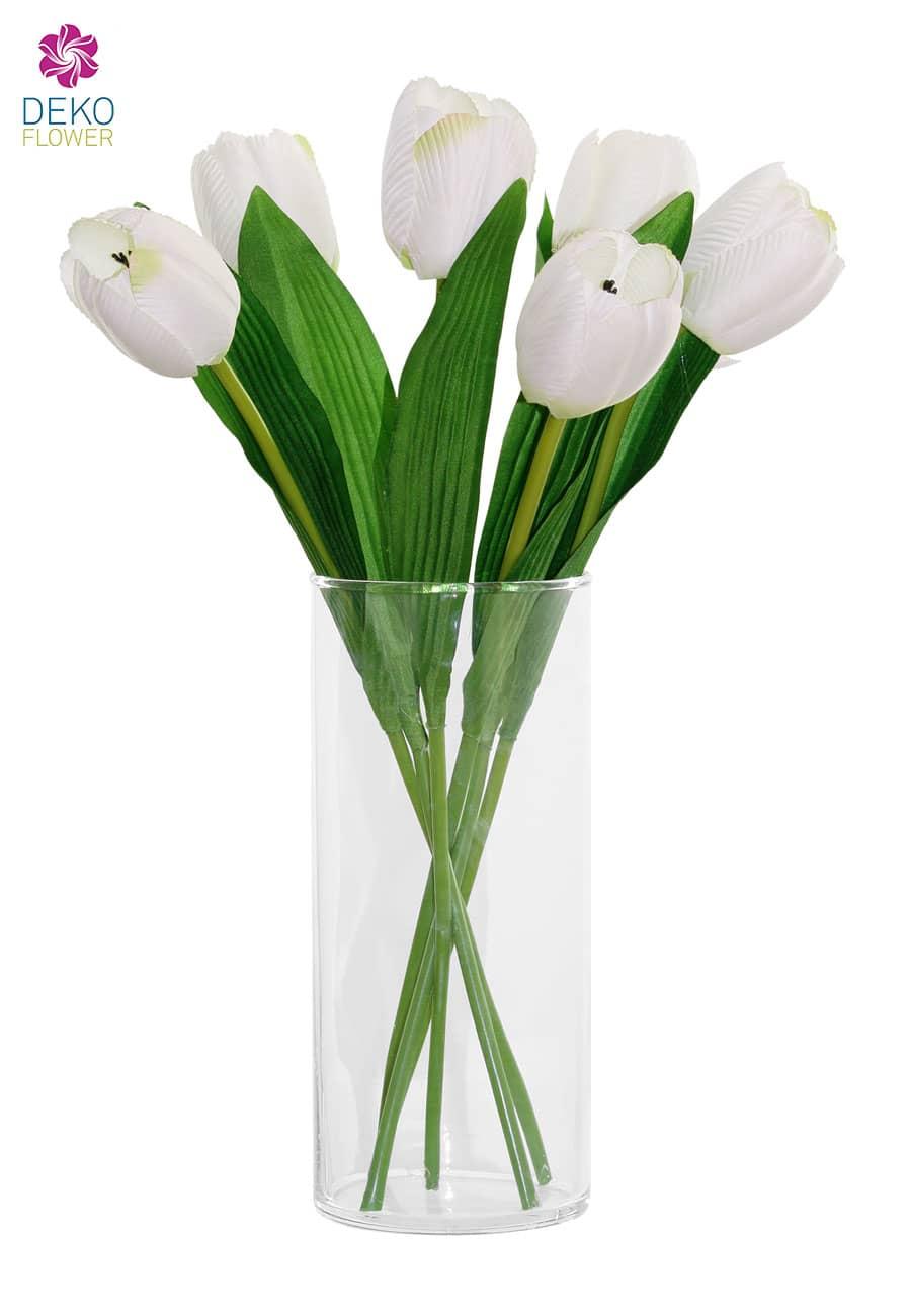 Kunstblumen Tulpen 40 cm weiß 6er-Pack