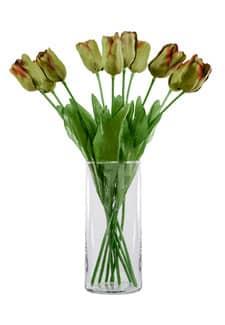Kunstblumen Tulpen grün rot 45 cm 10er-Pack