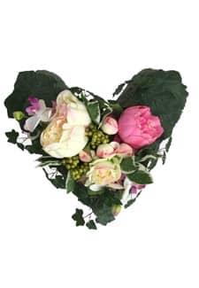 Kunstblumengesteck weiß pink »Herz«