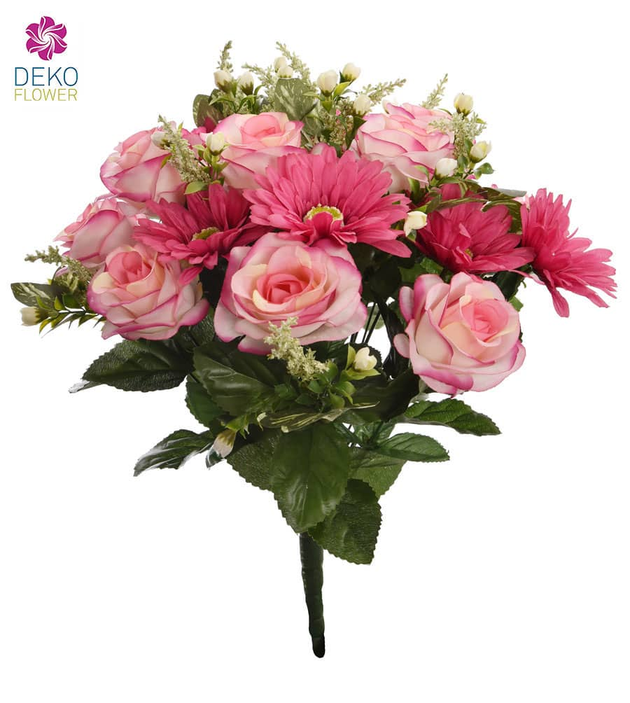 Kunstblumenstrauß 42 cm rosa
