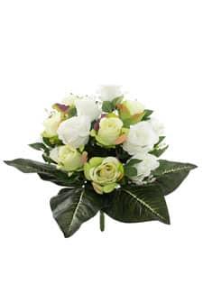 Kunstblumenstrauß cremegrün 43 cm