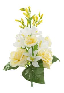 Kunstblumenstrauß hellgelb 55 cm