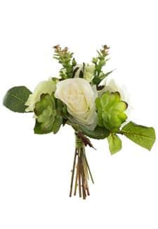 Kunstblumenstrauß mit Sukkulenten cremegrün 24 cm