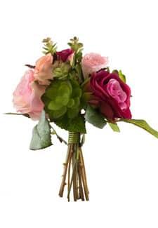 Kunstblumenstrauß mit Sukkulenten pink 24 cm