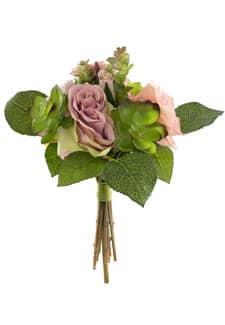 Kunstblumenstrauß mit Sukkulenten rosa 24 cm