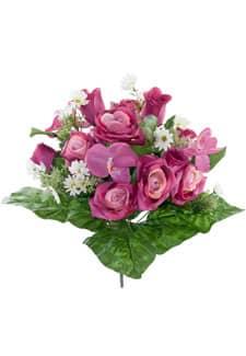Kunststrauß mit Rosen und Orchideen pink 40cm