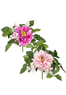 2er-Set Pfingstrosenstrauß rosa und lavendel, 23 cm