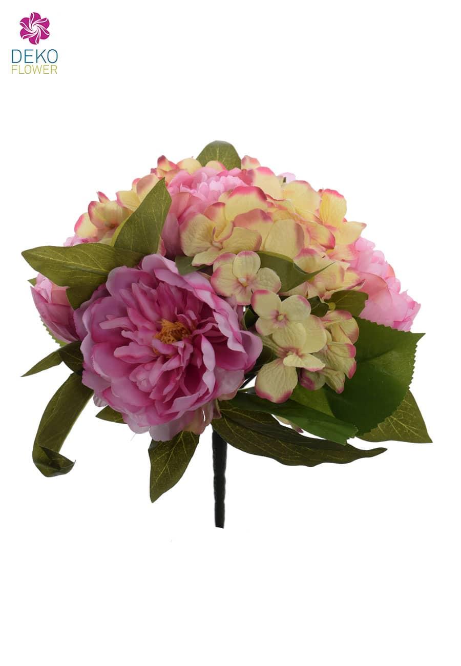 Kunstblumenstrauß pink gelb 29 cm